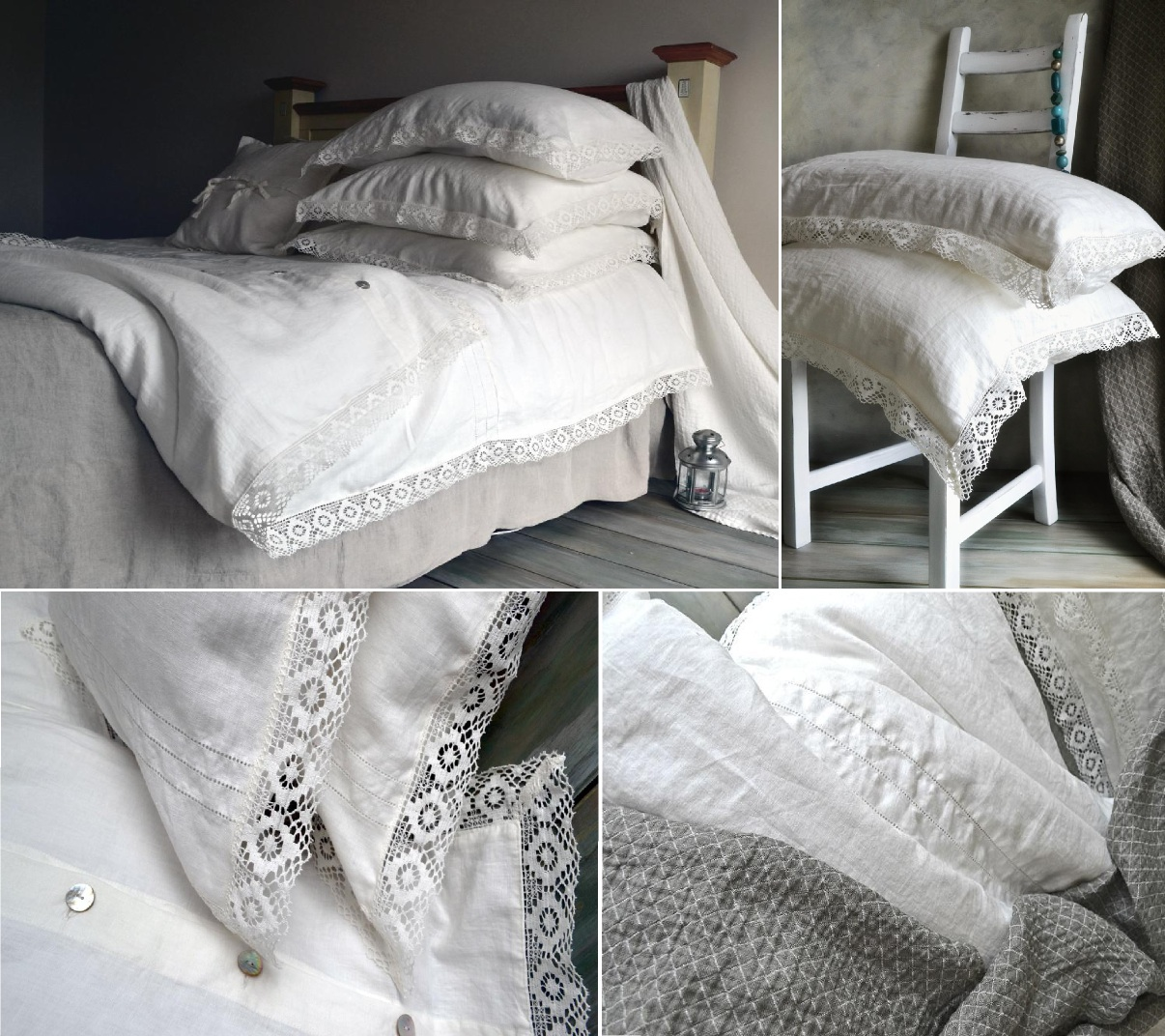 Provincial Living natural softened linen duvet cover with linen lace : washed linen quilt cover - Adamdwight.com